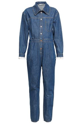 PHILOSOPHY di LORENZO SERAFINI Lace-trimmed denim jumpsuit