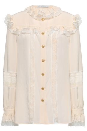 PHILOSOPHY di LORENZO SERAFINI Lace and point d'esprit-trimmed crepe de chine blouse