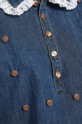 PHILOSOPHY di LORENZO SERAFINI Lace-trimmed denim shirt