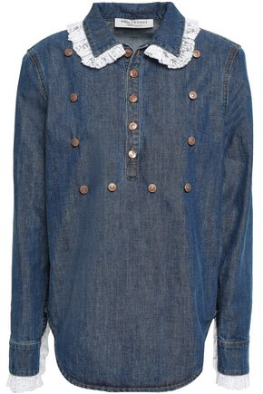 PHILOSOPHY di LORENZO SERAFINI Lace-trimmed denim shirt
