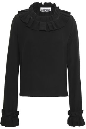 MOSCHINO Pleated silk crepe de chine blouse
