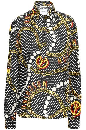 MOSCHINO Printed silk-twill shirt