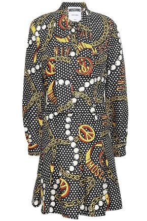 MOSCHINO Pleated printed silk-twill mini dress