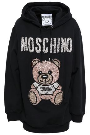MOSCHINO Appliquéd French cotton-terry hooded sweatshirt