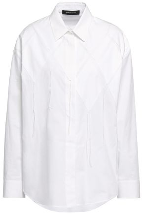 CEDRIC CHARLIER Appliquéd cotton-poplin shirt