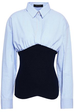 CEDRIC CHARLIER Paneled cotton-poplin and ribbed-knit top