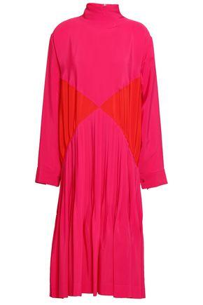 CEDRIC CHARLIER Pleated two-tone crepe de chine turtleneck dress