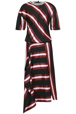 CEDRIC CHARLIER Striped jacquard midi dress