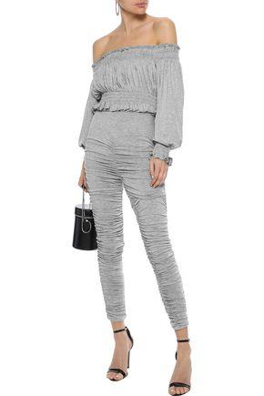 NORMA KAMALI Off-the-shoulder cropped mélange stretch-jersey top