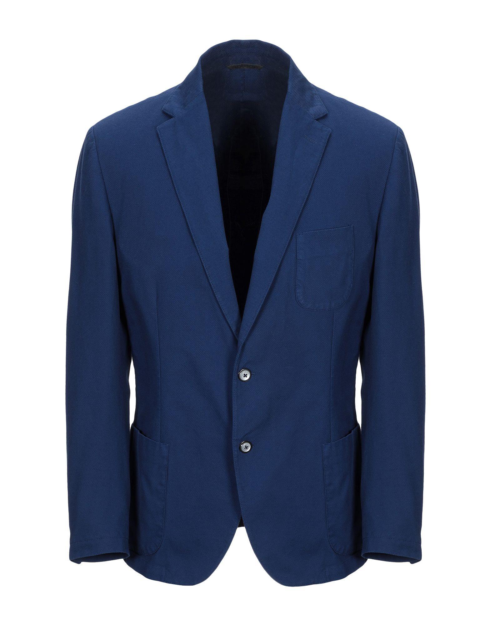 《期間限定セール開催中!》DOUBLE EIGHT メンズ テーラードジャケット ブルー 54 コットン 98% / ポリウレタン 2%