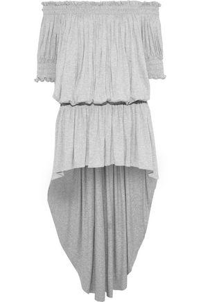 NORMA KAMALI Off-the-shoulder gathered mélange stretch-jersey mini dress