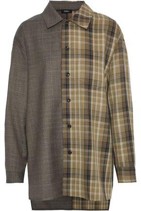 GOEN.J Oversized paneled checked wool-blend shirt