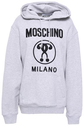 MOSCHINO Embroidered French cotton-terry hooded sweatshirt