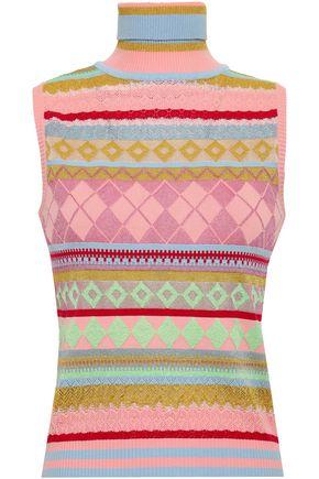 BOUTIQUE MOSCHINO Metallic jacquard-knit turtleneck top