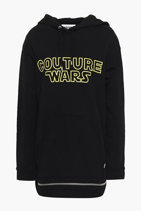 MOSCHINO Printed French cotton-terry hooded sweatshirt