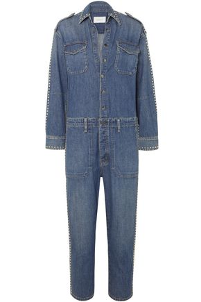CURRENT/ELLIOTT The Crew studded denim jumpsuit