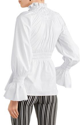 BEAUFILLE Galileo shirred cotton-blend poplin blouse