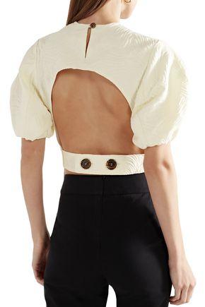 BEAUFILLE Talos open-back cotton-blend jacquard top