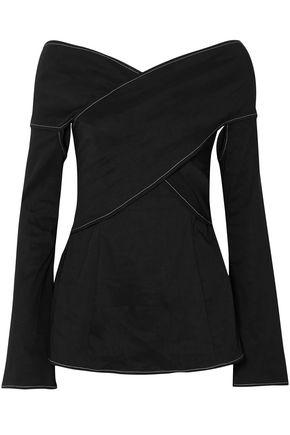 BEAUFILLE Prima off-the-shoulder stretch linen-blend blouse