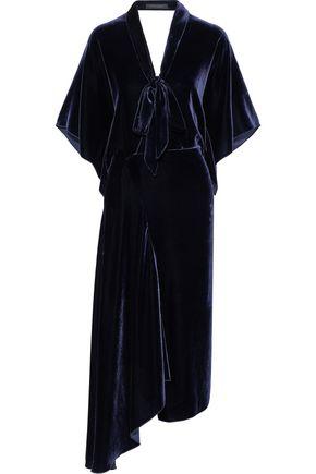 ROLAND MOURET Meyers asymmetric pussy-bow velvet midi dress