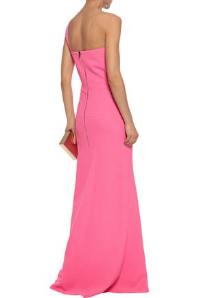 ROLAND MOURET Azul one-shoulder wool-crepe peplum gown