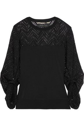 ROLAND MOURET Levin crochet knit-paneled stretch-knit top