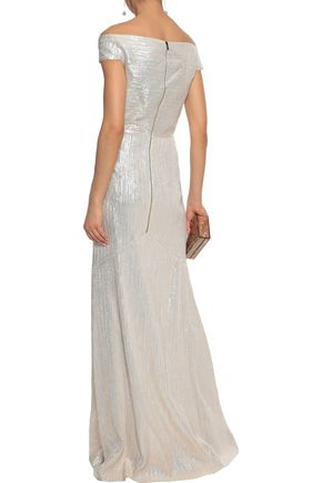 ROLAND MOURET Gerzon off-the-shoulder metallic ponte gown