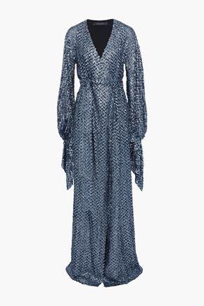 ROLAND MOURET Wrap-effect metallic fil coupé gown