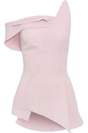 ROLAND MOURET Garbo one-shoulder asymmetric wool-crepe top