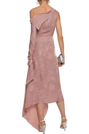 ROLAND MOURET Bruce one-shoulder draped silk-blend jacquard midi dress