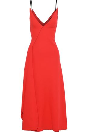 ROLAND MOURET Hooper draped wool-crepe midi dress