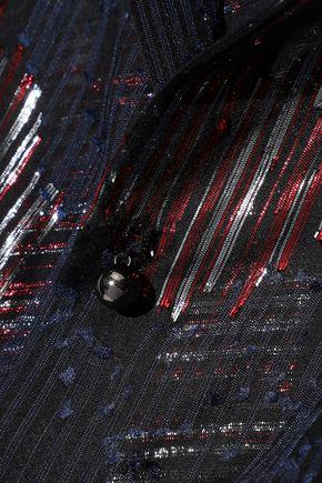 ROLAND MOURET Daldry metallic fil coupé silk-blend blouse