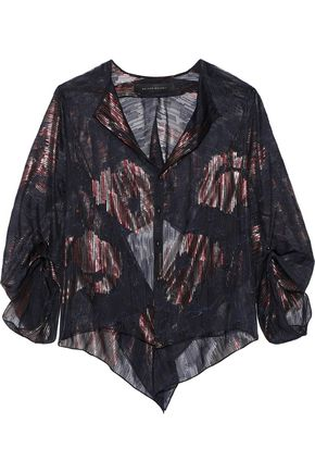 ROLAND MOURET Daldry metallic fil coupé silk-blend blouse