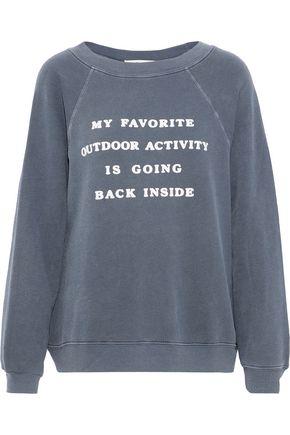 WILDFOX Flocked cotton-blend fleece sweatshirt
