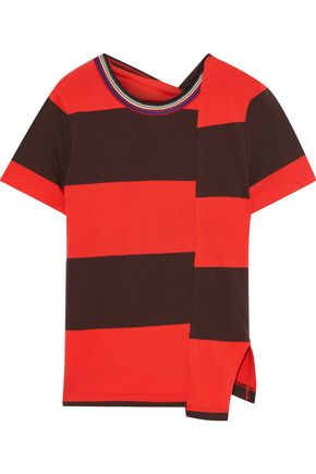 3.1 PHILLIP LIM Asymmetric twist-back striped stretch-cotton jersey T-shirt