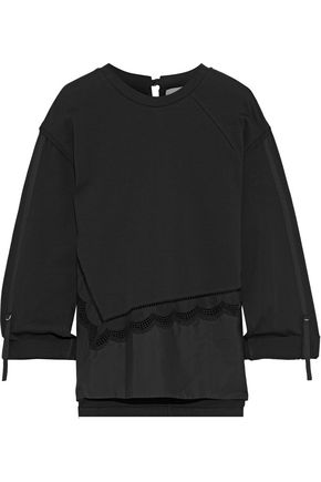 3.1 PHILLIP LIM Broderie anglaise poplin-paneled cotton-jersey top