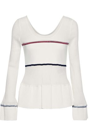 3.1 PHILLIP LIM Ribbed knit-paneled shirred stretch-cotton peplum top