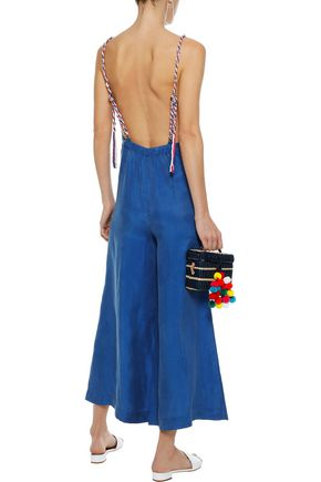 PAPER London Zayn open-back cropped brushed-twill jumpsuit