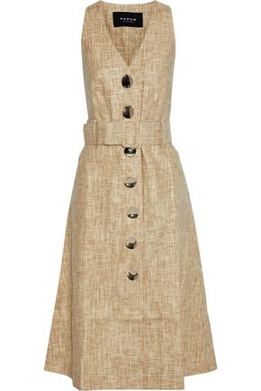 PAPER London Wallace belted linen and Tencel-blend midi dress