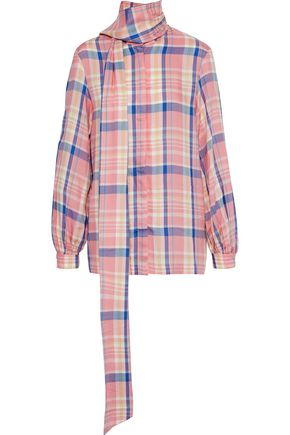 PAPER London Bow checked washed-crepe shirt