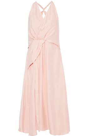 PAPER London Lagoon wrap-effect gathered satin-twill midi dress