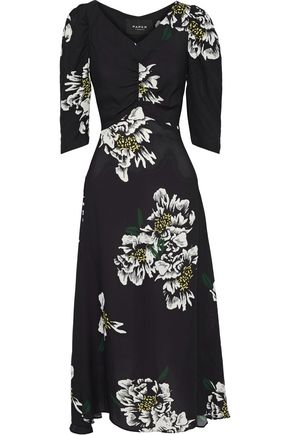 PAPER London Maison ruched floral-print crepe de chine midi dress