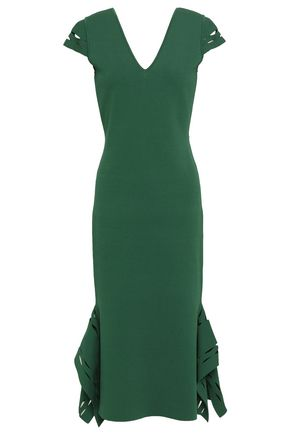 ROLAND MOURET Armstrong laser-cut stretch-knit midi dress
