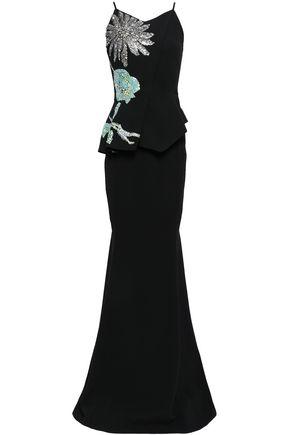 ROLAND MOURET Embellished crepe gown