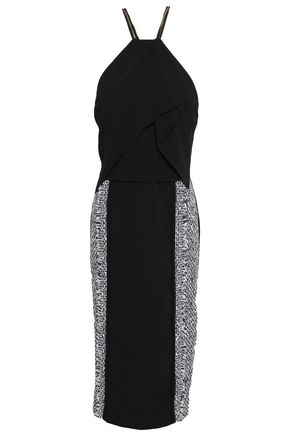 ROLAND MOURET Frayed tweed-paneled crepe dress