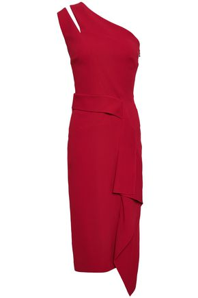 ROLAND MOURET One-shoulder cutout draped stretch-crepe midi dress