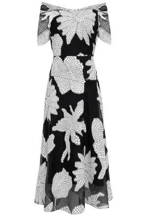 ROLAND MOURET Cutout fil coupé cotton-blend midi dress