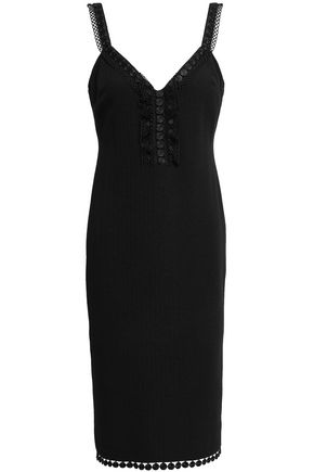 BOUTIQUE MOSCHINO Lace-trimmed cloqué dress