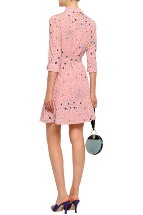 BOUTIQUE MOSCHINO Belted printed silk-blend mini shirt dress