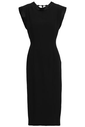 ALBERTA FERRETTI Satin-crepe peplum midi dress